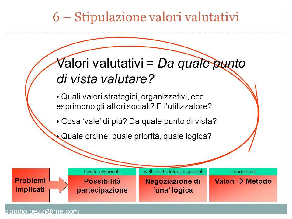 claudio.bezzi@me.com Valori valutativi = Da quale punto di vista valutare.