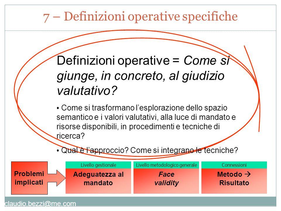 claudio.bezzi@me.com Definizioni operative = Come si giunge, in concreto, al giudizio valutativo.