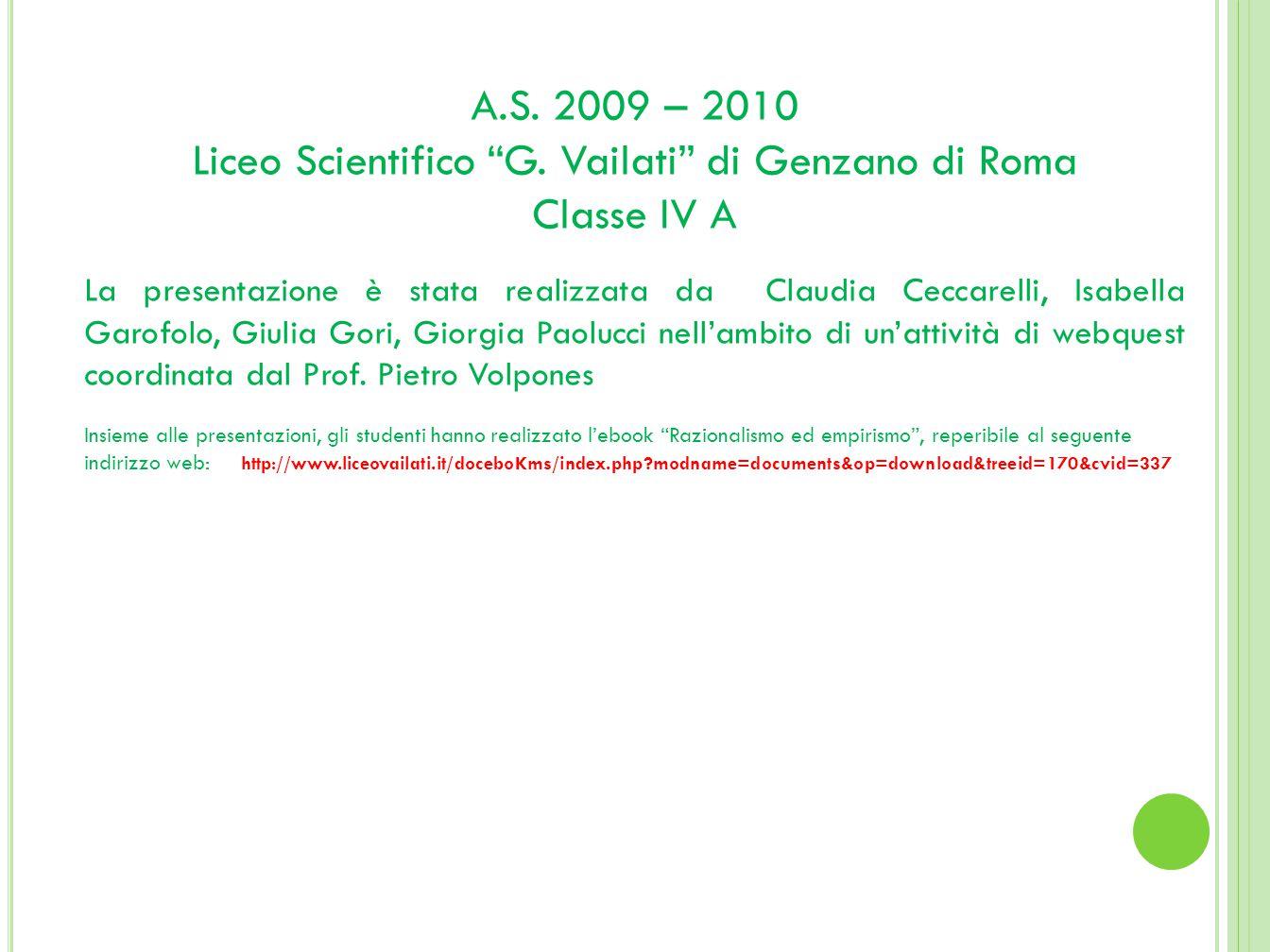 A.S.2009 – 2010 Liceo Scientifico G.