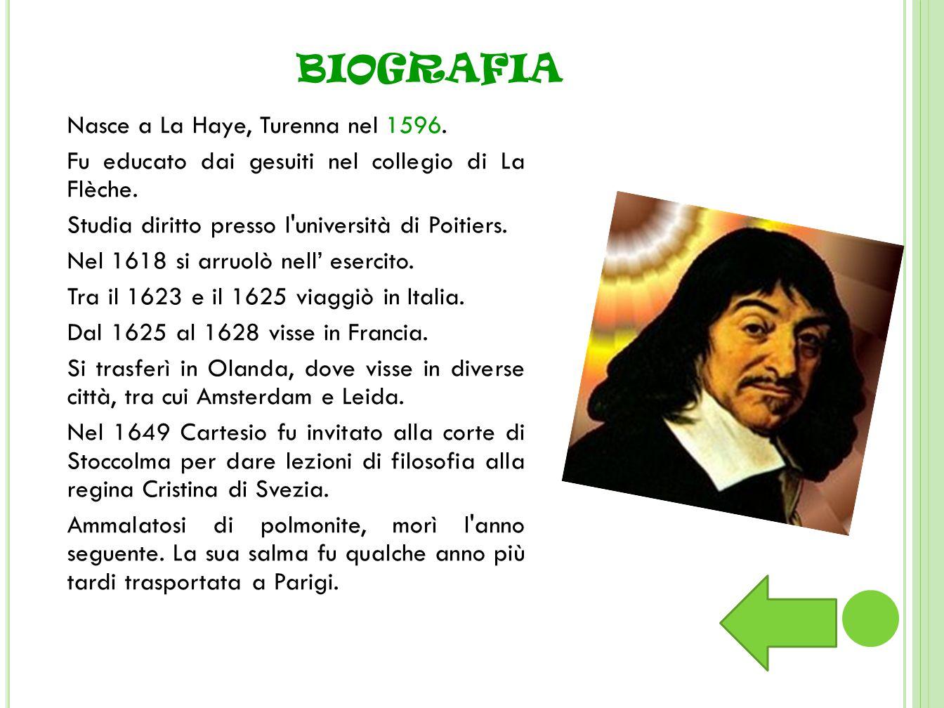 Nasce a La Haye, Turenna nel 1596.Fu educato dai gesuiti nel collegio di La Flèche.