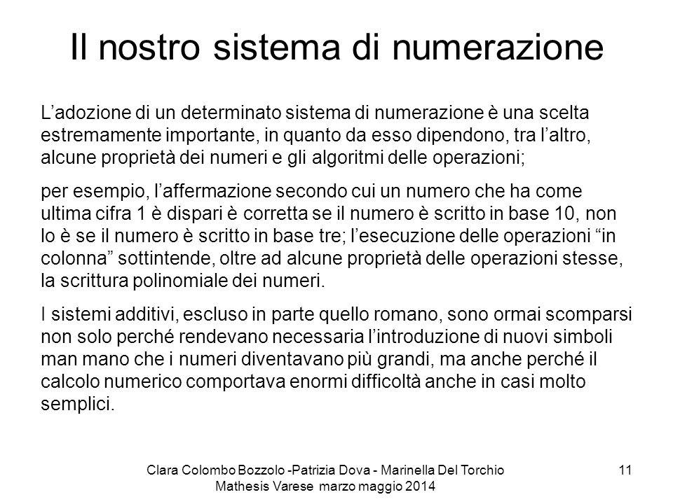 Clara Colombo Bozzolo -Patrizia Dova - Marinella Del Torchio Mathesis Varese marzo maggio 2014 11 Il nostro sistema di numerazione L'adozione di un de
