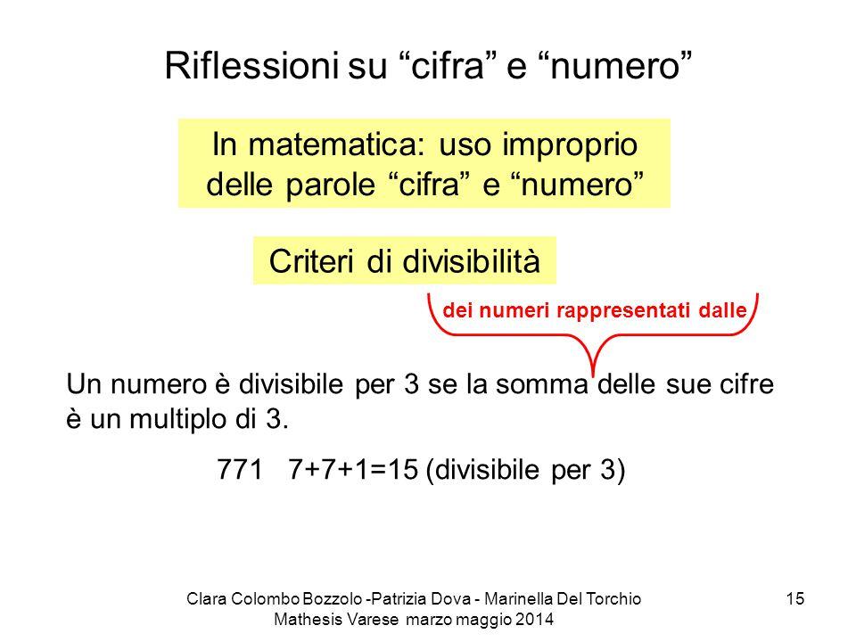 """Clara Colombo Bozzolo -Patrizia Dova - Marinella Del Torchio Mathesis Varese marzo maggio 2014 15 Riflessioni su """"cifra"""" e """"numero"""" In matematica: uso"""