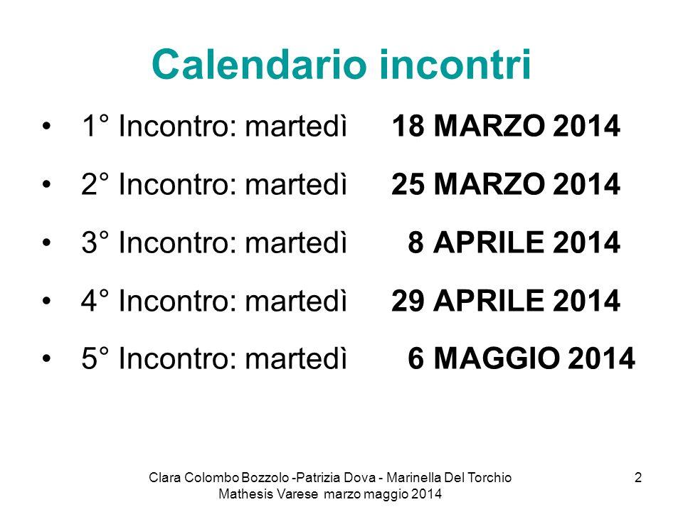 Clara Colombo Bozzolo -Patrizia Dova - Marinella Del Torchio Mathesis Varese marzo maggio 2014 2 Calendario incontri 1° Incontro: martedì 18 MARZO 201