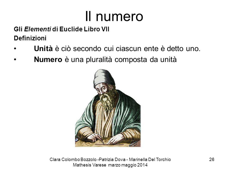 Clara Colombo Bozzolo -Patrizia Dova - Marinella Del Torchio Mathesis Varese marzo maggio 2014 26 Il numero Gli Elementi di Euclide Libro VII Definizi
