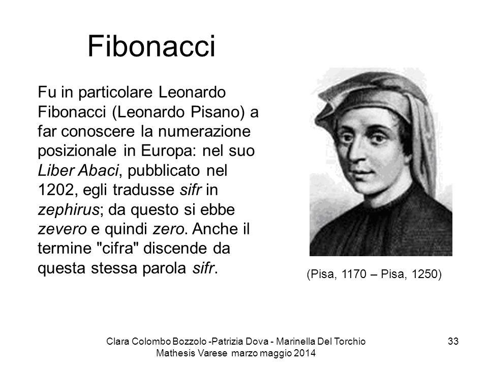 Clara Colombo Bozzolo -Patrizia Dova - Marinella Del Torchio Mathesis Varese marzo maggio 2014 33 Fibonacci Fu in particolare Leonardo Fibonacci (Leon