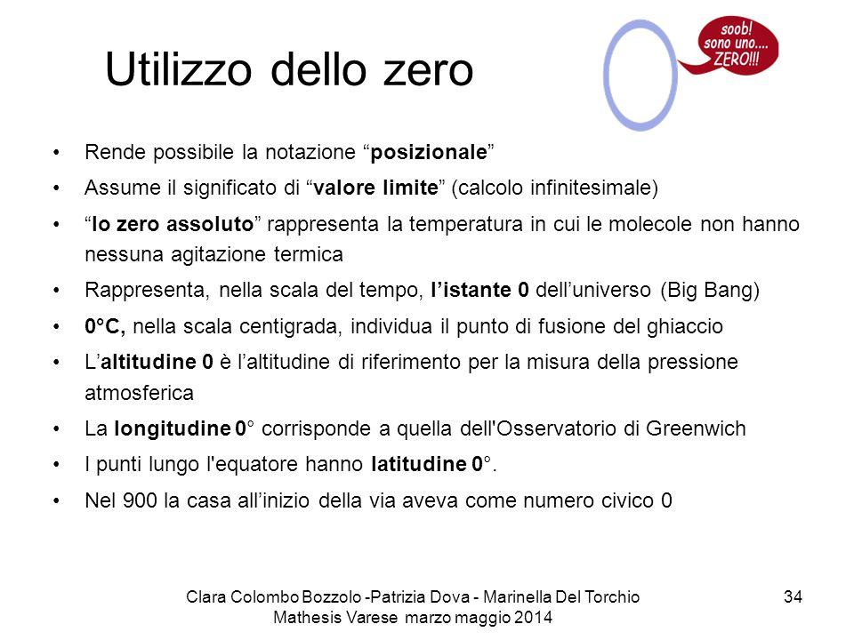 """Clara Colombo Bozzolo -Patrizia Dova - Marinella Del Torchio Mathesis Varese marzo maggio 2014 34 Utilizzo dello zero Rende possibile la notazione """"po"""