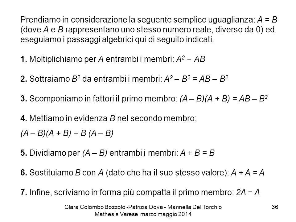 Clara Colombo Bozzolo -Patrizia Dova - Marinella Del Torchio Mathesis Varese marzo maggio 2014 36 Prendiamo in considerazione la seguente semplice ugu