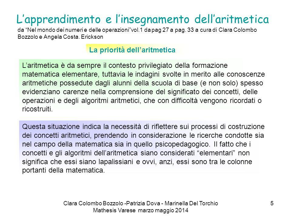 """5 L'apprendimento e l'insegnamento dell'aritmetica da """"Nel mondo dei numeri e delle operazioni""""vol.1 da pag 27 a pag. 33 a cura di Clara Colombo Bozzo"""