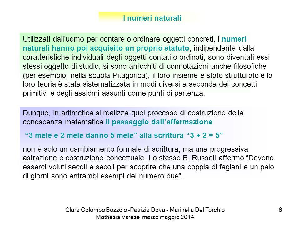 Clara Colombo Bozzolo -Patrizia Dova - Marinella Del Torchio Mathesis Varese marzo maggio 2014 6 I numeri naturali Utilizzati dall'uomo per contare o