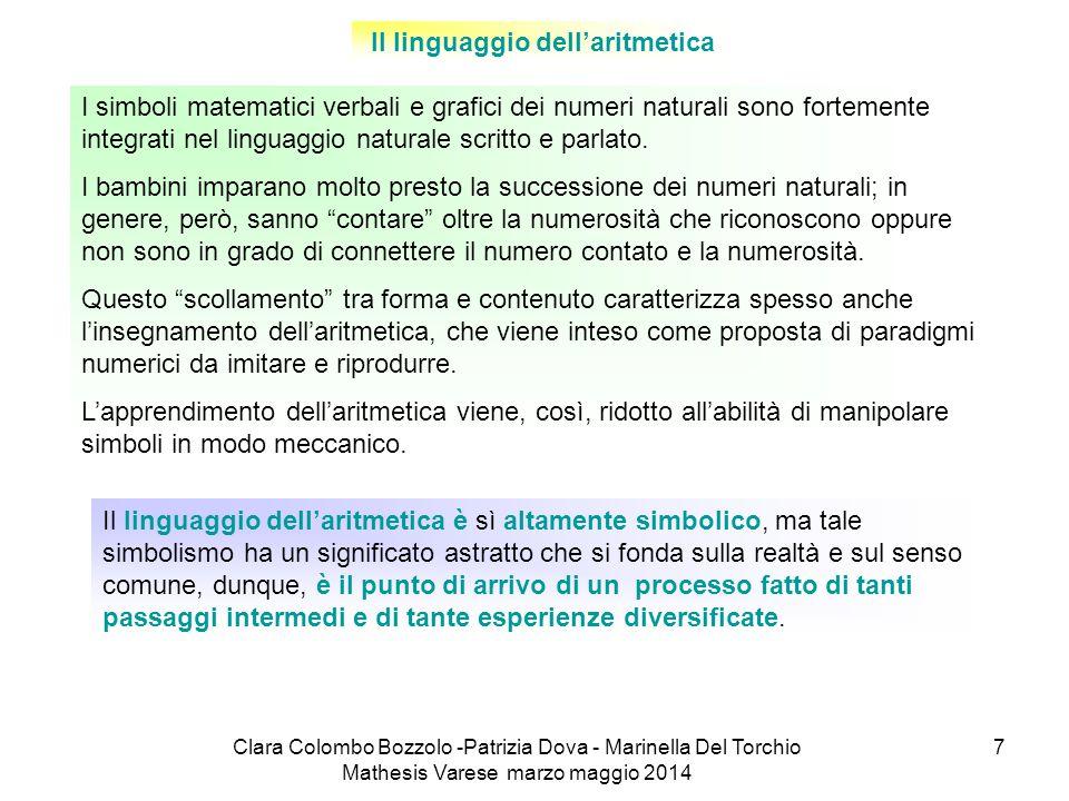 Clara Colombo Bozzolo -Patrizia Dova - Marinella Del Torchio Mathesis Varese marzo maggio 2014 7 Il linguaggio dell'aritmetica I simboli matematici ve