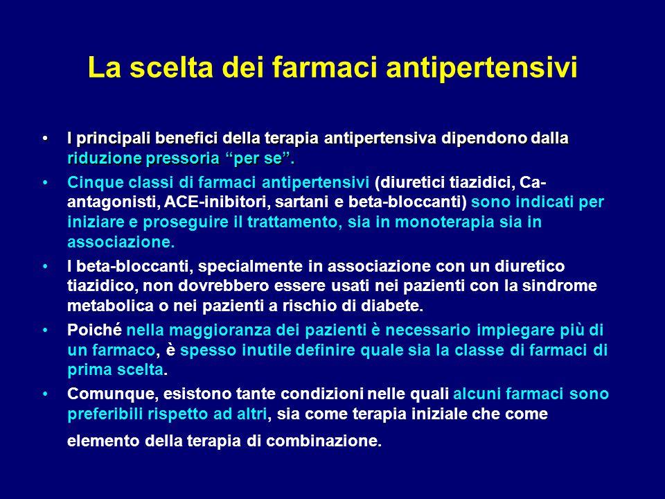 """La scelta dei farmaci antipertensivi I principali benefici della terapia antipertensiva dipendono dalla riduzione pressoria """"per se"""". I principali ben"""