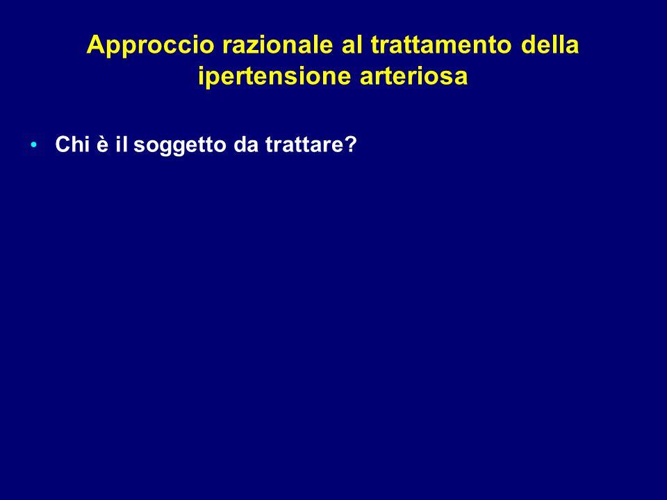 Definizioni e classificazione dei livelli pressori (mmHg) <90e≥140Ipertensione Sistolica Isolata ≥110e/o≥180Ipertensione Grado 3 100-109e/o 160-179Ipertensione Grado 2 90-99e/o 140-159Ipertensione Grado 1 85-89e/o 130-139Normale Alta 80-84e/o120-129Normale <80e<120Ottimale DiastolicaSistolicaCategoria