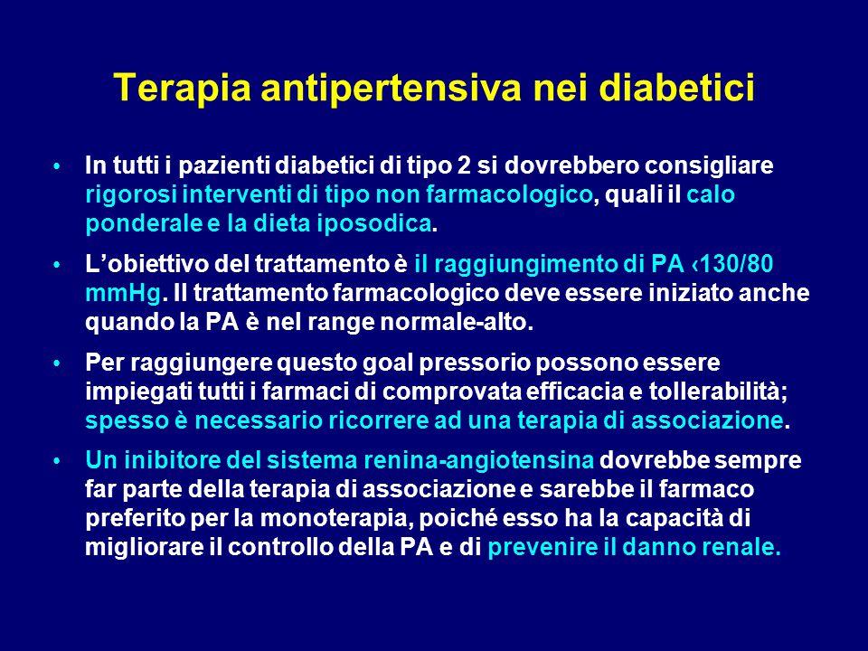 Terapia antipertensiva nei diabetici In tutti i pazienti diabetici di tipo 2 si dovrebbero consigliare rigorosi interventi di tipo non farmacologico,