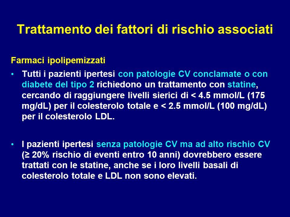 Trattamento dei fattori di rischio associati Farmaci ipolipemizzati Tutti i pazienti ipertesi con patologie CV conclamate o con diabete del tipo 2 ric