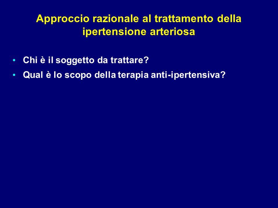 Approccio razionale al trattamento della ipertensione arteriosa Chi è il soggetto da trattare? Qual è lo scopo della terapia anti-ipertensiva?