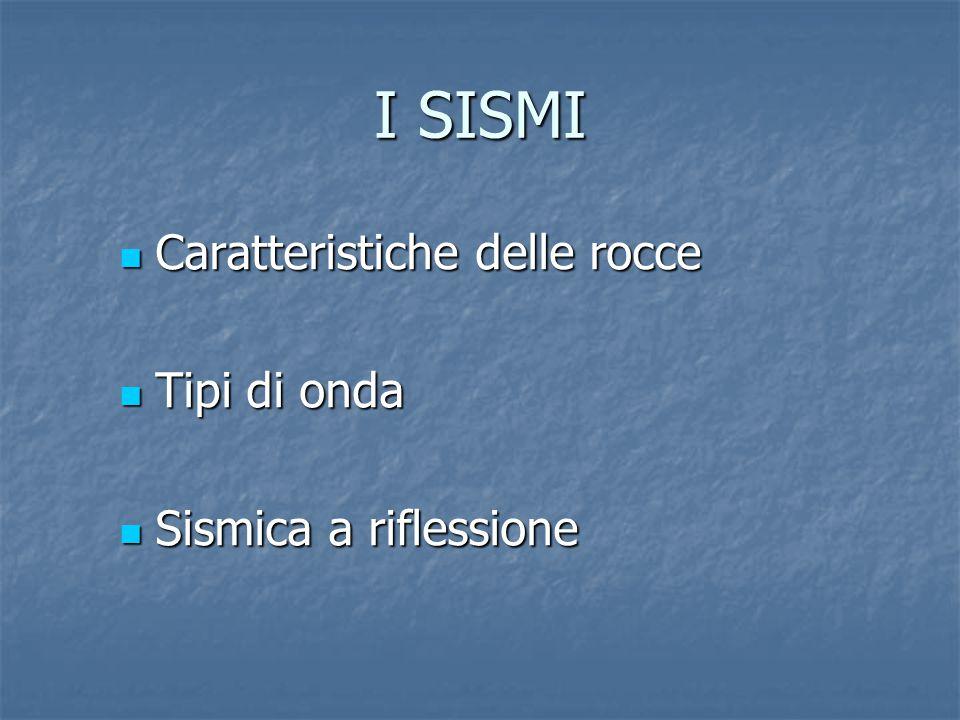 I SISMI Caratteristiche delle rocce Caratteristiche delle rocce Tipi di onda Tipi di onda Sismica a riflessione Sismica a riflessione