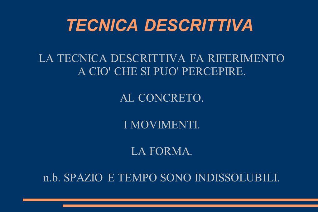 LE CARATTERISTICHE DELLA TECNICA DESCRITTIVA SPIEGAZIONI E DIMOSTRAZIONI.