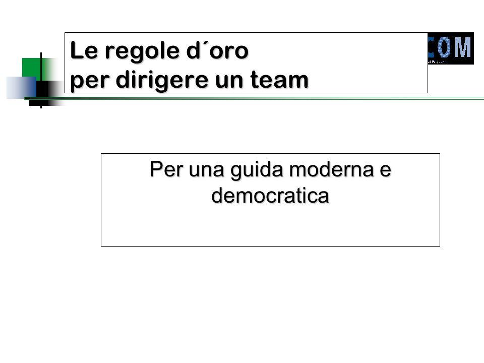 Presupposto:  Il compito e l'obiettivo del gruppo che lavora al progetto devono essere conosciuti ed accettati da ogni suo singolo membro.