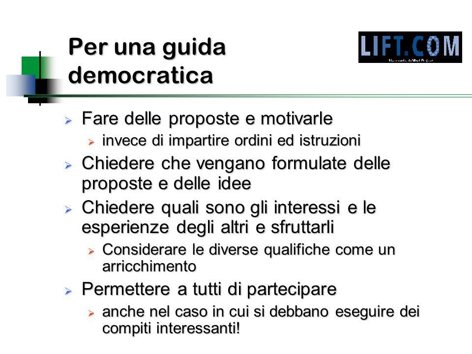 Per una guida democratica  Fare delle proposte e motivarle  invece di impartire ordini ed istruzioni  Chiedere che vengano formulate delle proposte