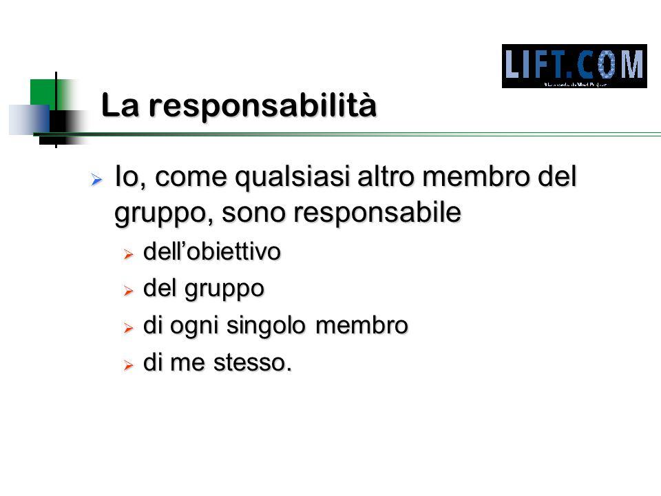 La responsabilità  Io, come qualsiasi altro membro del gruppo, sono responsabile  dell'obiettivo  del gruppo  di ogni singolo membro  di me stesso.