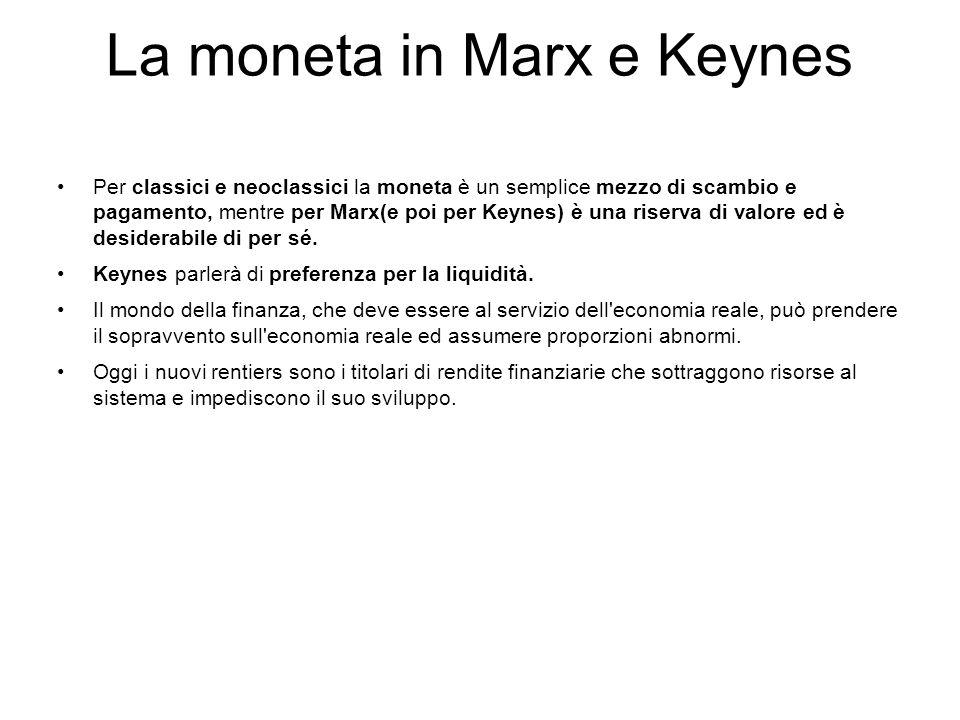 La moneta in Marx e Keynes Per classici e neoclassici la moneta è un semplice mezzo di scambio e pagamento, mentre per Marx(e poi per Keynes) è una ri