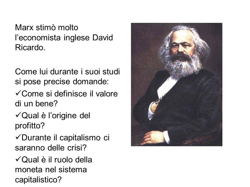 Marx stimò molto l'economista inglese David Ricardo. Come lui durante i suoi studi si pose precise domande: Come si definisce il valore di un bene? Qu