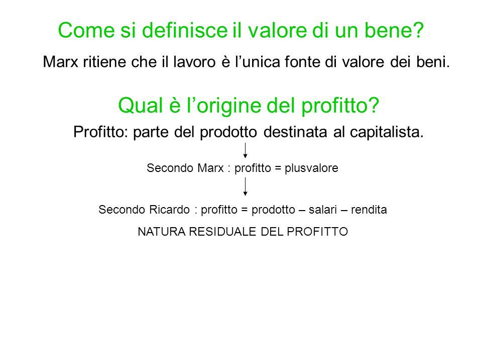 Come si definisce il valore di un bene? Marx ritiene che il lavoro è l'unica fonte di valore dei beni. Qual è l'origine del profitto? Profitto: parte