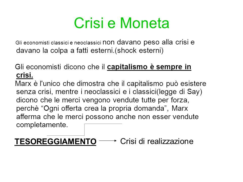 Crisi e Moneta Gli economisti classici e neoclassici non davano peso alla crisi e davano la colpa a fatti esterni.(shock esterni) Gli economisti dicon