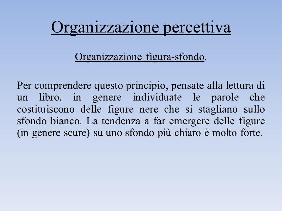 Organizzazione percettiva Organizzazione figura-sfondo. Per comprendere questo principio, pensate alla lettura di un libro, in genere individuate le p
