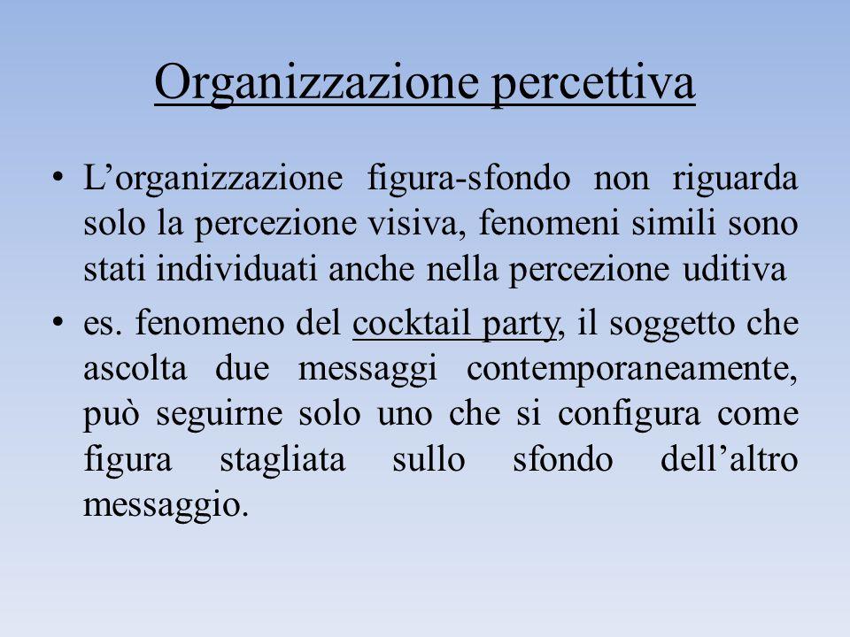 Organizzazione percettiva L'organizzazione figura-sfondo non riguarda solo la percezione visiva, fenomeni simili sono stati individuati anche nella pe