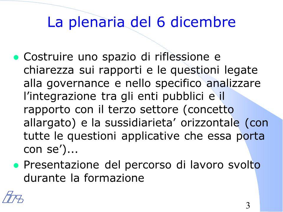 3 La plenaria del 6 dicembre l Costruire uno spazio di riflessione e chiarezza sui rapporti e le questioni legate alla governance e nello specifico analizzare l'integrazione tra gli enti pubblici e il rapporto con il terzo settore (concetto allargato) e la sussidiarieta' orizzontale (con tutte le questioni applicative che essa porta con se')...