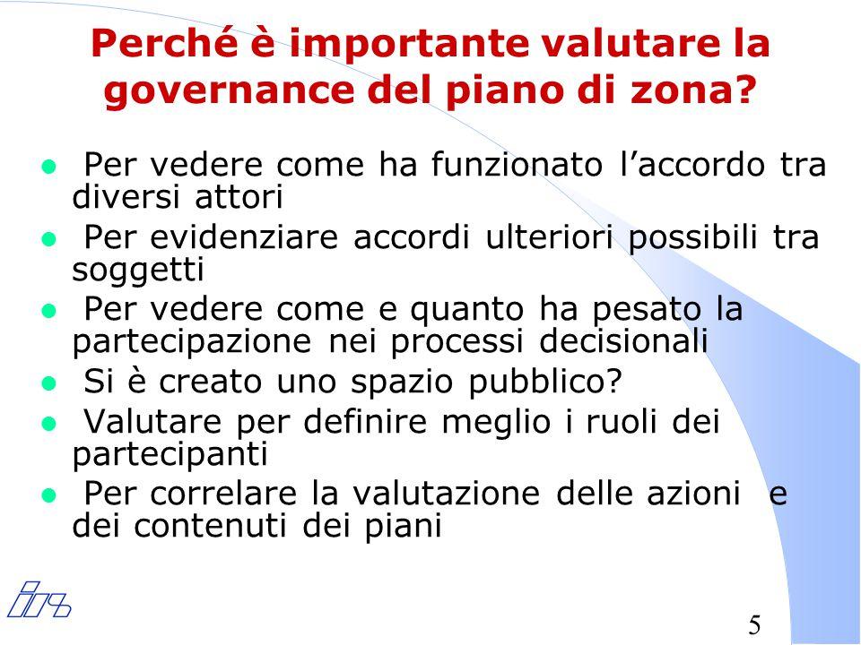 5 Perché è importante valutare la governance del piano di zona.