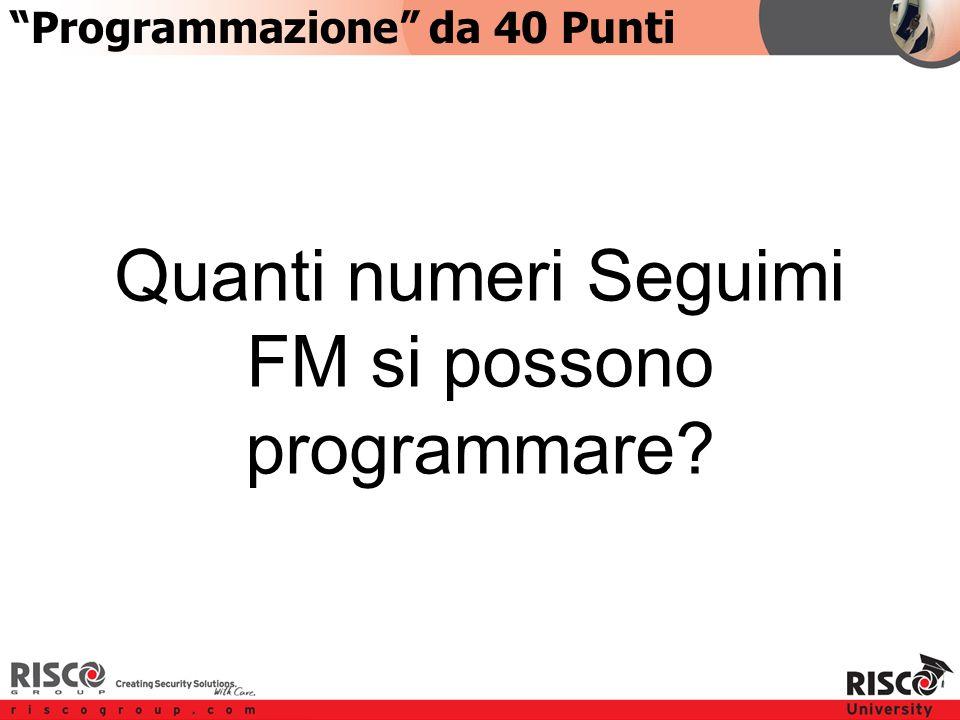 2:402:40 Quanti numeri Seguimi FM si possono programmare Programmazione da 40 Punti
