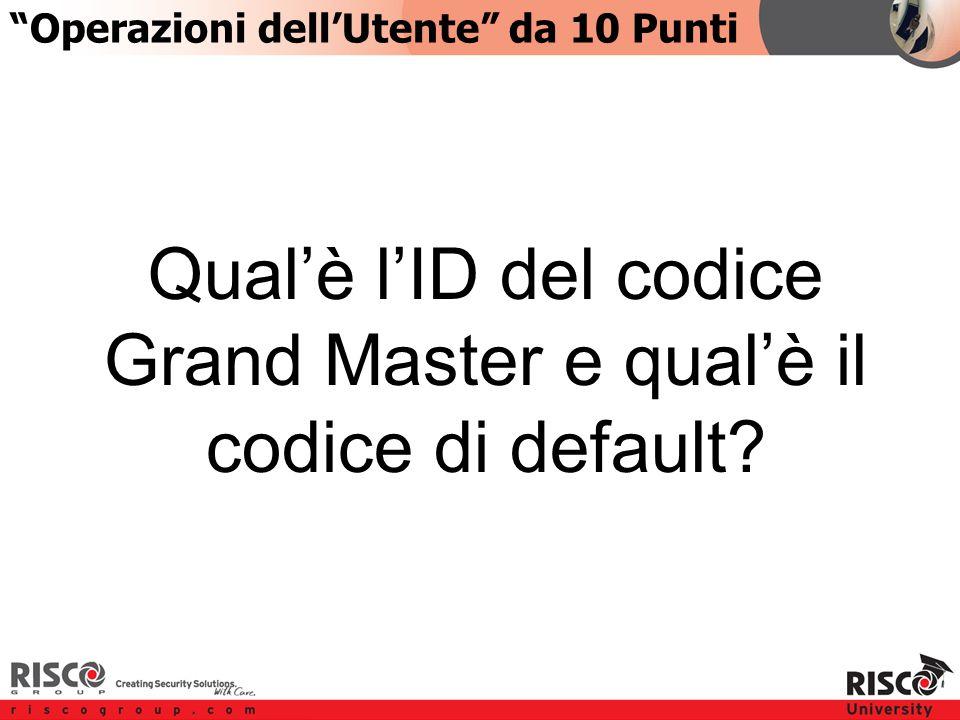 3:103:10 Qual'è l'ID del codice Grand Master e qual'è il codice di default.