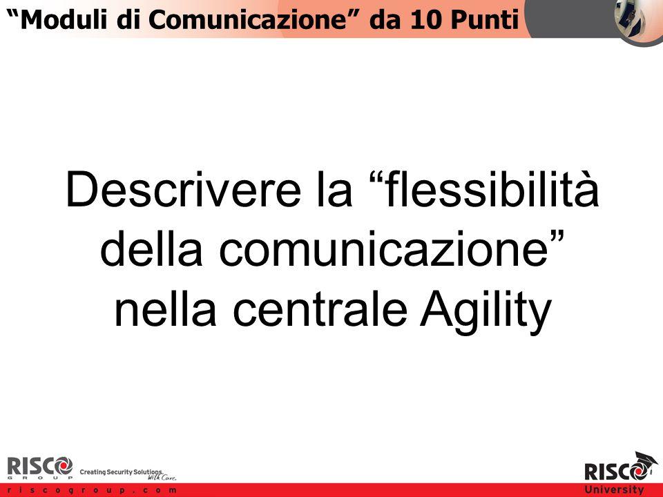 4:104:10 Descrivere la flessibilità della comunicazione nella centrale Agility Moduli di Comunicazione da 10 Punti