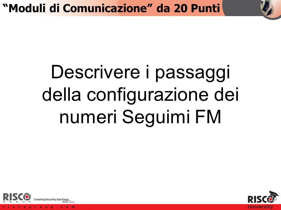 4:204:20 Descrivere i passaggi della configurazione dei numeri Seguimi FM Moduli di Comunicazione da 20 Punti