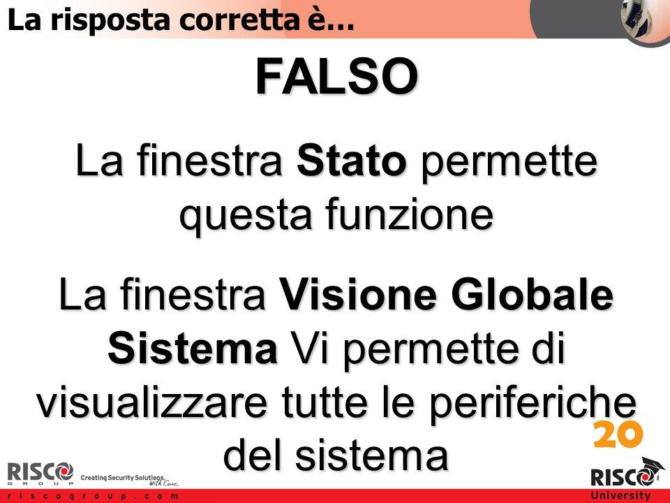 5:20 Answer FALSO La finestra Stato permette questa funzione La finestra Visione Globale Sistema Vi permette di visualizzare tutte le periferiche del sistema 20 La risposta corretta è…