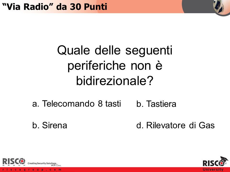 6:306:30 Via Radio da 30 Punti Quale delle seguenti periferiche non è bidirezionale.