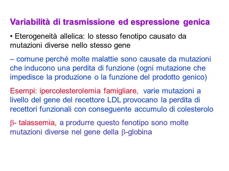 Variabilità di trasmissione ed espressione genica Eterogeneità allelica: lo stesso fenotipo causato da mutazioni diverse nello stesso gene – comune pe