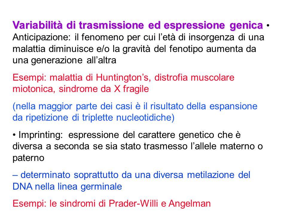 Variabilità di trasmissione ed espressione genica Variabilità di trasmissione ed espressione genica Anticipazione: il fenomeno per cui l'età di insorg
