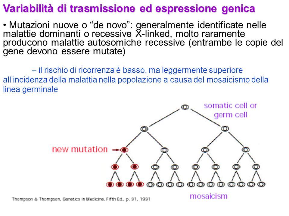 """Variabilità di trasmissione ed espressione genica Mutazioni nuove o """"de novo"""": generalmente identificate nelle malattie dominanti o recessive X-linked"""
