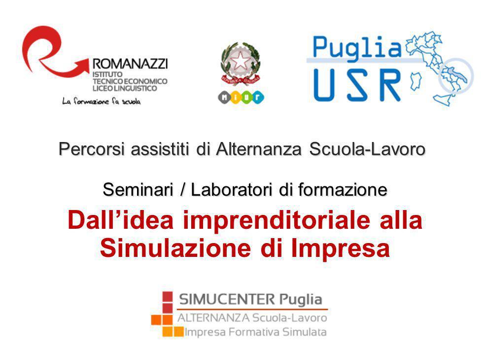 Percorsi assistiti di Alternanza Scuola-Lavoro Seminari / Laboratori di formazione Dall'idea imprenditoriale alla Simulazione di Impresa