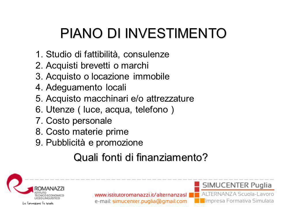 PIANO DI INVESTIMENTO Quali fonti di finanziamento.