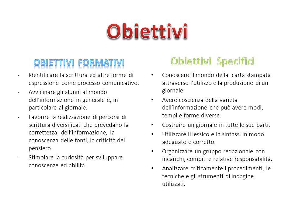 -Identificare la scrittura ed altre forme di espressione come processo comunicativo. -Avvicinare gli alunni al mondo dell'informazione in generale e,