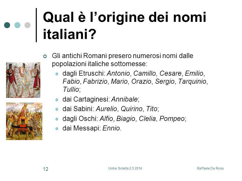 Raffaele De RosaUnitre Soletta 2.5.2014 12 Qual è l'origine dei nomi italiani? Gli antichi Romani presero numerosi nomi dalle popolazioni italiche sot