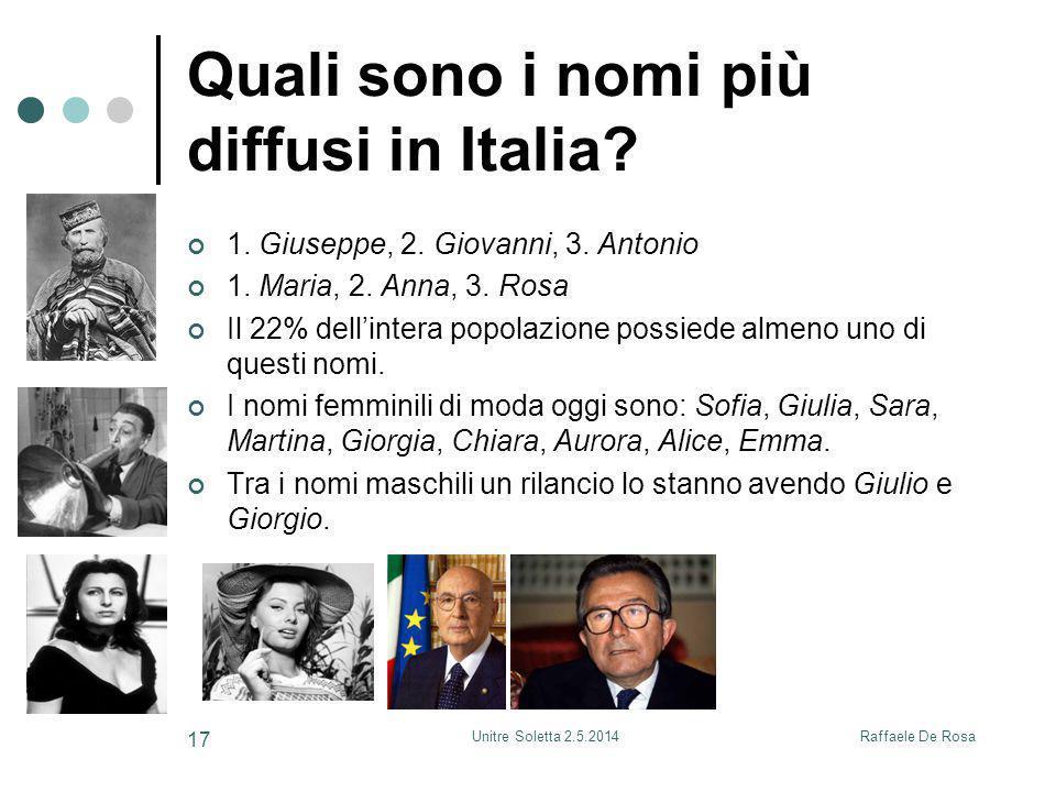 Raffaele De RosaUnitre Soletta 2.5.2014 17 Quali sono i nomi più diffusi in Italia? 1. Giuseppe, 2. Giovanni, 3. Antonio 1. Maria, 2. Anna, 3. Rosa Il