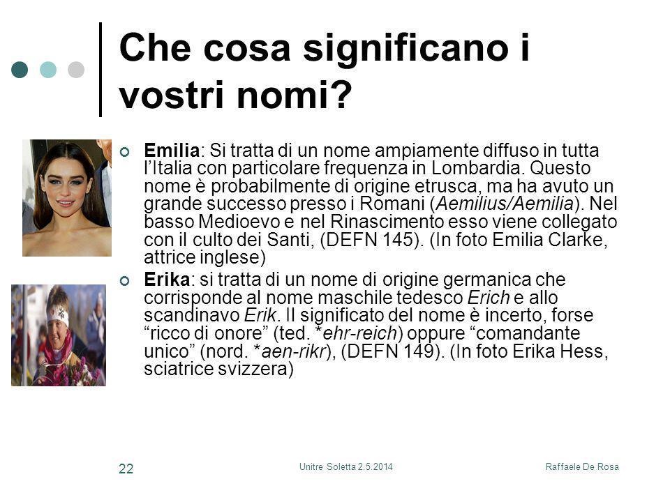 Raffaele De RosaUnitre Soletta 2.5.2014 22 Che cosa significano i vostri nomi? Emilia: Si tratta di un nome ampiamente diffuso in tutta l'Italia con p