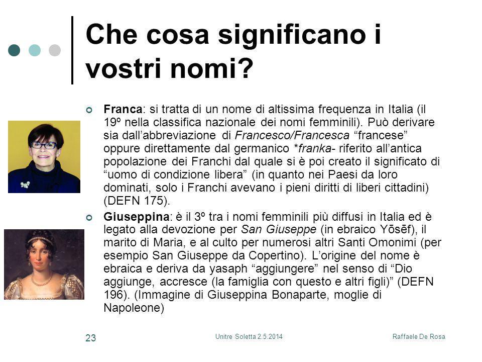 Raffaele De RosaUnitre Soletta 2.5.2014 23 Che cosa significano i vostri nomi? Franca: si tratta di un nome di altissima frequenza in Italia (il 19º n