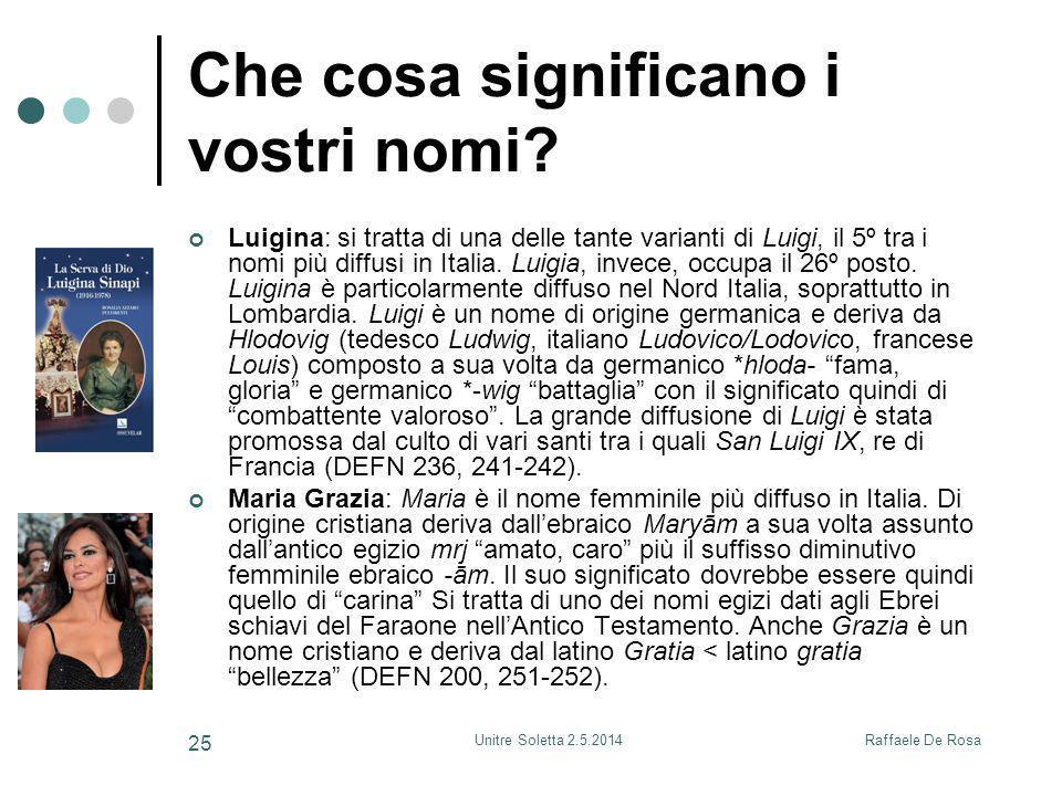 Raffaele De RosaUnitre Soletta 2.5.2014 25 Che cosa significano i vostri nomi? Luigina: si tratta di una delle tante varianti di Luigi, il 5º tra i no
