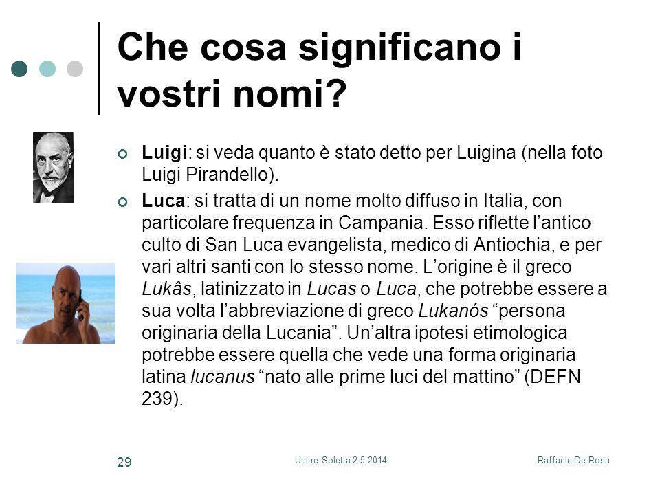 Raffaele De RosaUnitre Soletta 2.5.2014 29 Che cosa significano i vostri nomi.